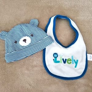 L is for Lively bib and hat set